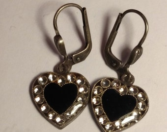 SALE TODAY Catherine Popesco France Vintage Black Heart Silver Tone Clear Rhinestone Charm Earrings Edwardian