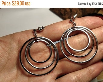 Large 1960s Vintage Mod Modernist Concentric Triple Circle Drop Silver Tone Earrings Pierced Hoop Round