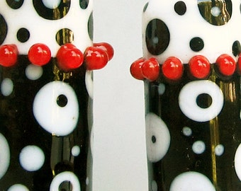 B&W Dotty Barrels--Handmade Lampwork Beads