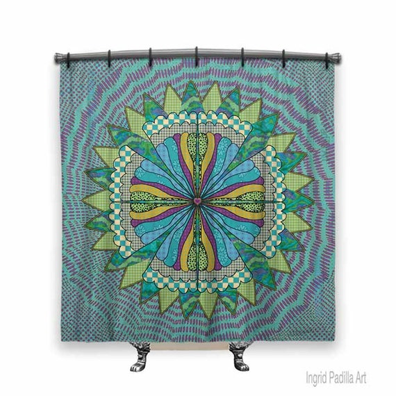 Mandala, BOHO Shower Curtain, Shower curtain, Mandala shower curtain, Turquoise shower curtain, Fabric shower curtain, Mandala Art, BOHO