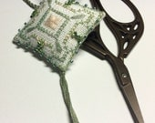 Mid Summers Dream Scissor Fob Ornament Pin Cushion Completed Beaded Cross Stitch Needlework