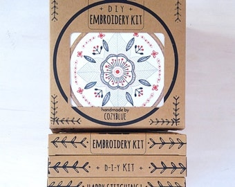 FLORAL MANDALA embroidery kit - gift kit, embroidery kit in a box, DIY gift for crafters, hand embroidery kit by cozyblue