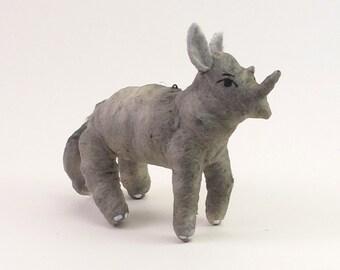Vintage Style Spun Cotton Rhino Figure/Ornament
