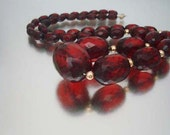 """Natural Cherry Amber 27"""" Necklace Graduated Faceted Beads 14kgf"""