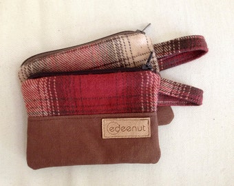 Brown Flannel Plaid credit card, gift card zipper pouch. coin purse. Ready To Ship, minimalist wristlet wallet Autumn accessory, pocket red