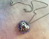 Tanzanite Framed Silver Heart Necklace