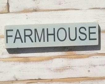FARMHOUSE sign | handpainted wood sign | Gallery Wall | | encouragement home decor | 3.5x15 inches | made to order