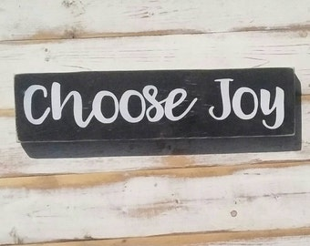 CHOOSE JOY | white on black | handpainted wood sign | Gallery Wall | | encouragement home decor | 3.5x15 inches | made to order