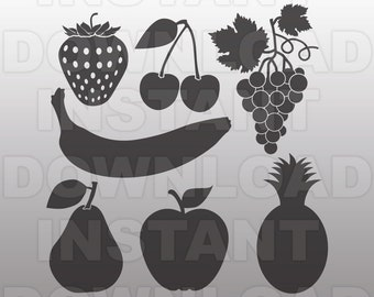 Fruit SVG File, Strawberry svg, Cherry svg, Apple svg, Pear svg, cricut svg, silhouette svg, svg cuts, cuttable svg, svg cut file,vector svg