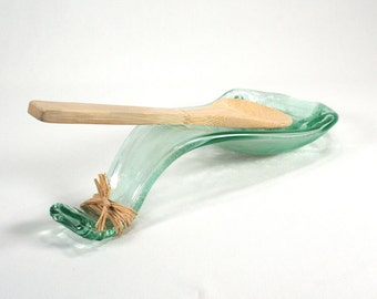 Blue Green Wine Bottle Wave Serving Bowl - Standard Size Spoon Rest - Recycled Eco-Friendly
