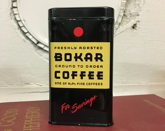 Bokar Coffee, Coffee Bank, Coffee Can, Vintage Coffee Can, Vintage Collectible, Collector Tin, Kitchenalia, Retro, Tin Bank, Old Bank