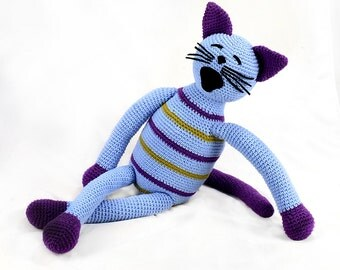 becky -  purple and green striped light blue plush crocheted cat softie