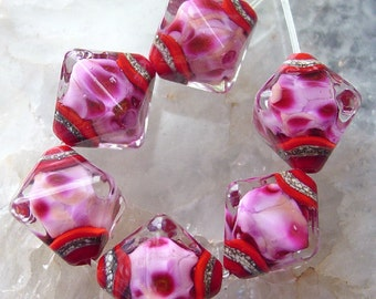 Beautiful Blush  - Set of 6 Crystal Bicone Beads - SRA Glass Lampwork