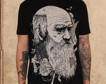 Charles Darwin - Origin of Species - black - discharge ink - natural selection