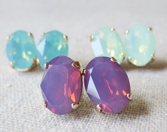 Swarovski Crystal Oval Opal Post Earrings Stainless Steel Posts Mint Seafoam Raspberry Opal Rose Gold Bridal Jewelry Bridesmaids Gifts