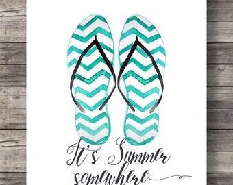 It's summer somewhere | flip flops Watercolor art print | Printable summer flip flops wall art | Summertime printable | Instant download