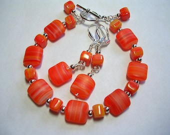 Orange Bracelet and Earring set  Czech Hurricane Glass Toggle Clasp Wire Wrapped Leverback Hooks Dreamsicle Creamsicle Gifts under 10