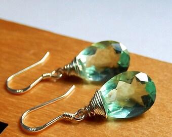 Mint Green Earrings, Fluorite Drop Earrings, Faceted Gemstone, Aqua Teardrops, Sterling Silver