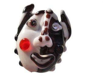 Black & white mask glass bead pendant amulet, Lampwork necklace, handmade face bead lamp work pendant, face totem, focal bead, glassbead