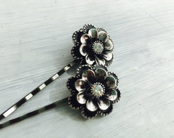Silver Flowers - Antiqued silver fliwe hair pins, bobby pins,  Sold individually