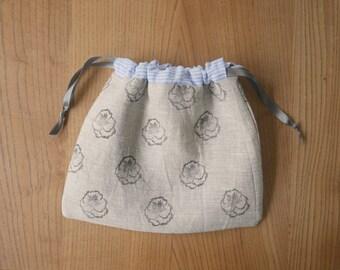 block-printed linen project bag