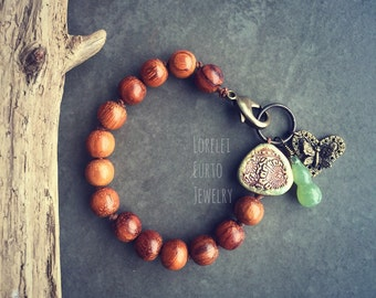 Wood Bracelet with Ceramic bead and Butterfly Charm