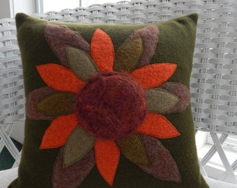 Recycled Wool Pillow with Huge Flower and Needle Felted Center on Green