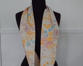 Cotton Double Gauze Infinity Scarf in Cream with Flowers