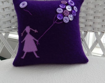 Recycled Cashmere Sweater Little Girl with Braids and Balloons Pillow - Purples