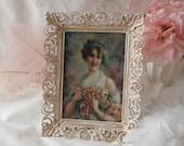 Vintage 40s Orname Frame with Victorian Lady, Vintage Metal Frame, Pink and 14k gold Frame