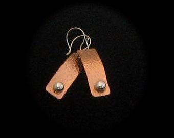 Copper and Silver Earrings, Mixed Metal Earrings, Rectangular Eaarrings