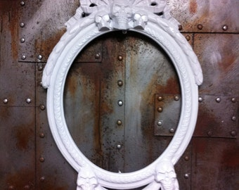 Small Gloss White Skulls Oval  Picture Frame Mirror  Shabby Chic Baroque Gothic Victorian Tattoo