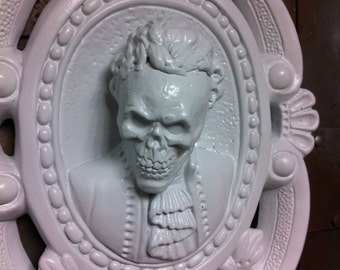 White Skull Ornate Wall Hanging  Shabby Chic Baroque Gothic Victorian Tattoo Goth Decor