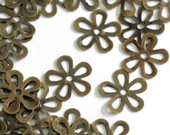 Sale 100pcs 10mm Antique Bronze Filigree Flowers