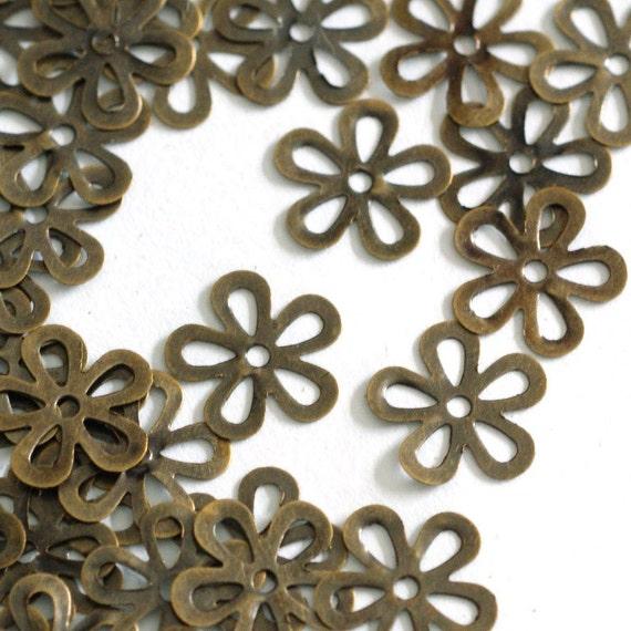 Sale 100pcs 10mm Antique Bronze Filigree Flowers
