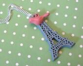 A Pink Bird in Paris Eiffel Tower Necklace