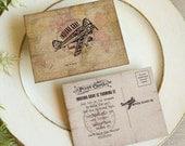 Birthday Post Card Invitation Vintage Map Airplane Adventure Treasure