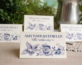 Chinese Indigo Wedding Reception Place Card Escort Card Navy Blue Floral