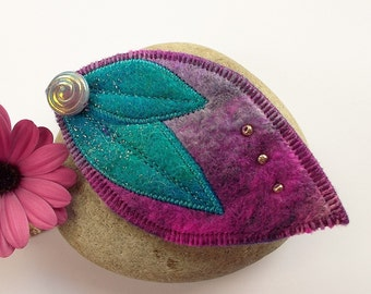 Felt Leaf Brooch Cerise and Turquoise