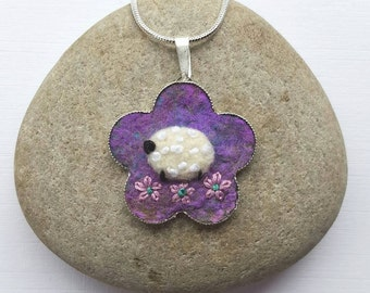 Felt Flower and Sheep Necklace
