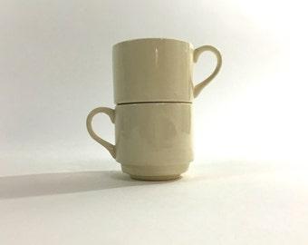 USA Pottery Stackable Mugs ~ White Mugs ~ White Coffee Cup ~ USA Pottery ~ Stackable Cups