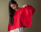 deadstock red linen extra wide crop top / cropped blouse / oversized top / s / m / l / 1548t