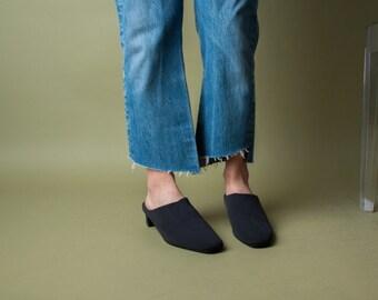 black fabric wedge mules / black slides mules / slide sandals / 10 M / 719s / B3