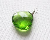 Lime Green Quartz Large Heart Cut Briolette Sterling Silver Wire Wrapped Pendant