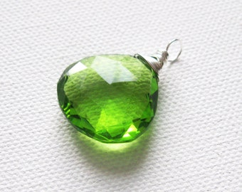Lime Green Pendant Large Quartz Heart Cut Pendant Sterling Silver Wire Wrapped Pendant UK Seller