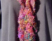 Bejeweled Ruffled Spiral Scarf - Hand Crocheted with pure Sari Silk Yarn