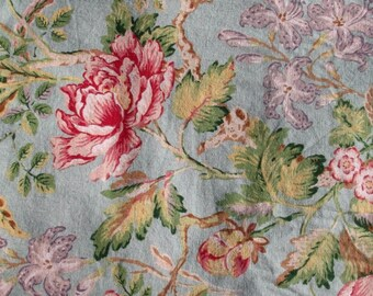4.5 Yards Drapery Garden Floral Fabric Cottage Chic Dusty Blue Cabbage Roses Botanical Upholstery