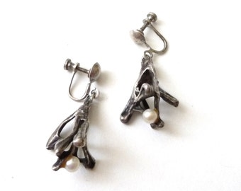 Brutal Modernist Sterling and Pearl Earrings  Screw Back Clip On