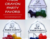Custom Rush Order, 12 Personalized Kids' FARM Crayon PARTY FAVORS, Party Pack of (12) Favors (24 Crayons)