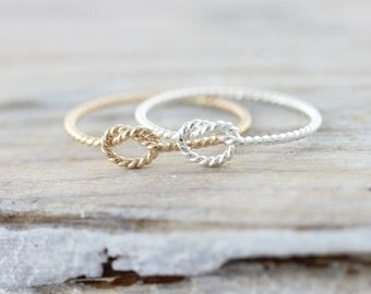 Rope knot ring - thin twist nautical promise ring - bridesmaid gift